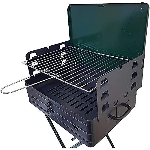 Barbecue a Carbonella Picnic con Griglia Pieghevole Portatile Richiudibile in Valigia Campeggio Grigliate Giardino Gardenia