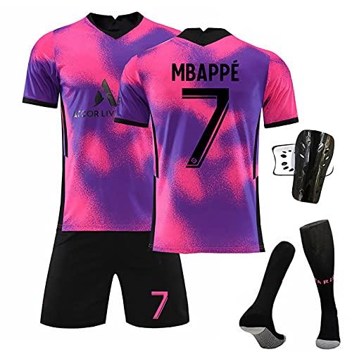 Camiseta De Fútbol Paris Away, 7#10#11#Camisetas Fútbol Rosa Morado Camiseta Pantalón Calcetín Espinilleras,Entrenamiento Deportivo para Adultos Y Niños