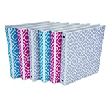 Samsill Fashion Design 3 Ring Binder, Digi Diamond Print, 1 Inch Round Rings, Assorted Colors (Turquoise, Pink, Silver), Bulk Binders - 6 Pack
