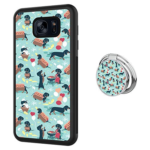 Designed Dachshund Samsung Galaxy S7 Case with Buckle Ring 360° Rotatable Silvery Durable Ring Buckle, TPU Black Antiskid Tread Phone Case for Samsung Galaxy S7