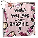 DIYAB Care Pink Lipstick Cosmetics Esmalte de uñas Set Watercolour Powder Puff Sombra de Ojos, Decoración del hogar Cortina de Ducha 72inX72in