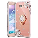 IKASEFU Bling Glitter Diamond Flower Luxury Rhinestone Soft TPU Silicone Rubber Mirror Case with Ring Stand Holder Gel Bumper Cover Compatible with Samsung Galaxy On5 2016/J5 Prime,Rose gold