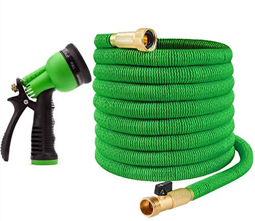 Ovareo Garden Hose, Flexible and Expandable Garden Hoses, Heavy Duty Triple Latex Core with 3/4' Solid Brass Fittings, 8 Function Hose Spray Nozzle, Easy Storage Kink Free Water Hose (25 FT, Green)