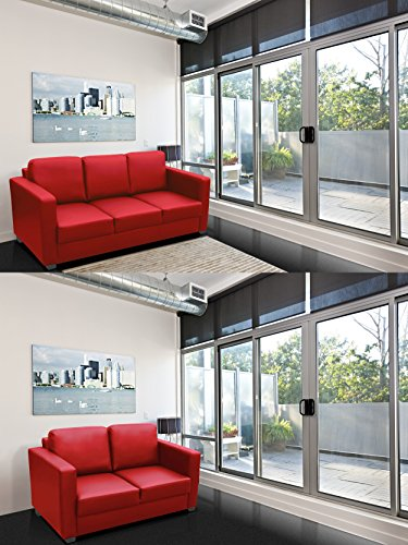 New Lincoln 3 + 2 Seater Sofa Faux Leather Fabric Settee Black Cream Grey Brown (Red, Faux Leaher)