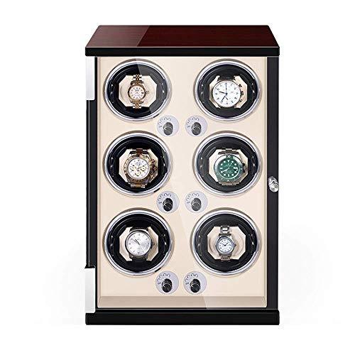 ZCYXQR Caja enrolladora de Reloj automática Pintura de Piano de Madera Exterior Reloj Ajustable Almohadas Motor silencioso para Hombre Relojes de Mujer (Color: Negro, Tamaño: 4 + 0)