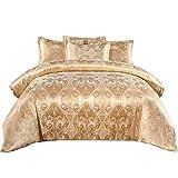 SUCSES Satin Bedding Set King Size, Gold Jacquard Duvet...
