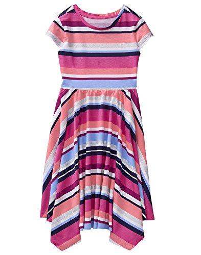 Gymboree Girls' Little Short Sleeve Handkerchief Dress, Pink Stripe, M