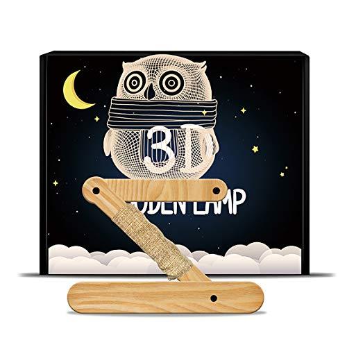 Lampe de d'ambiance 3D Illusion Veilleuse,KINGCOO Optique Led Alimenté USB Lampes de Bureau Bois Panneau Acrylique Lampe de Table Noël Cadeau d'anniversaire pour Enfants Chambre (Hibou)