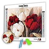 Kit de pintura con diamantes 5D por número redondo, diseño de mosaico de punto de cruz, hecho a mano, para decoración de pared, diseño de tulipanes rojos y blancos, M, 1