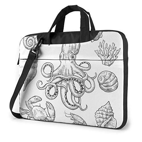 Laptop Case Computer Bag Sleeve Cover Sea Shell Coral Crab Waterproof Shoulder Briefcase 13 14 15.6 Inch