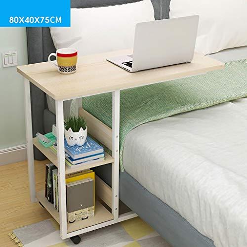 Tischlaptop Wandtabelle Klapptisch Mobiler Stand-Up-Laptop-Tisch Computertisch Bett-Schreibtisch mit Aufbewahrungsgestell Rad Massivholz-Wohnzimmer Lesetisch Multifunktions-Schreibtisch für Jeden Anl