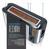 Arendo – Automatik Toaster Langschlitz | mit Defrost Funktion | Wärmeisolierendes Doppelwandgehäuse | Automatische Brotzentrierung | Brötchenaufsatz | herausziehbare Krümelschublade |GS-zertifiziert - 4