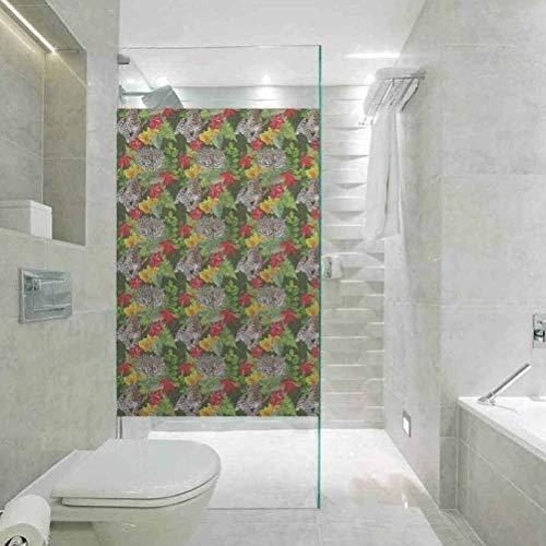 Película decorativa para ventana de papel de cristal, flores de leopardo realistas,...