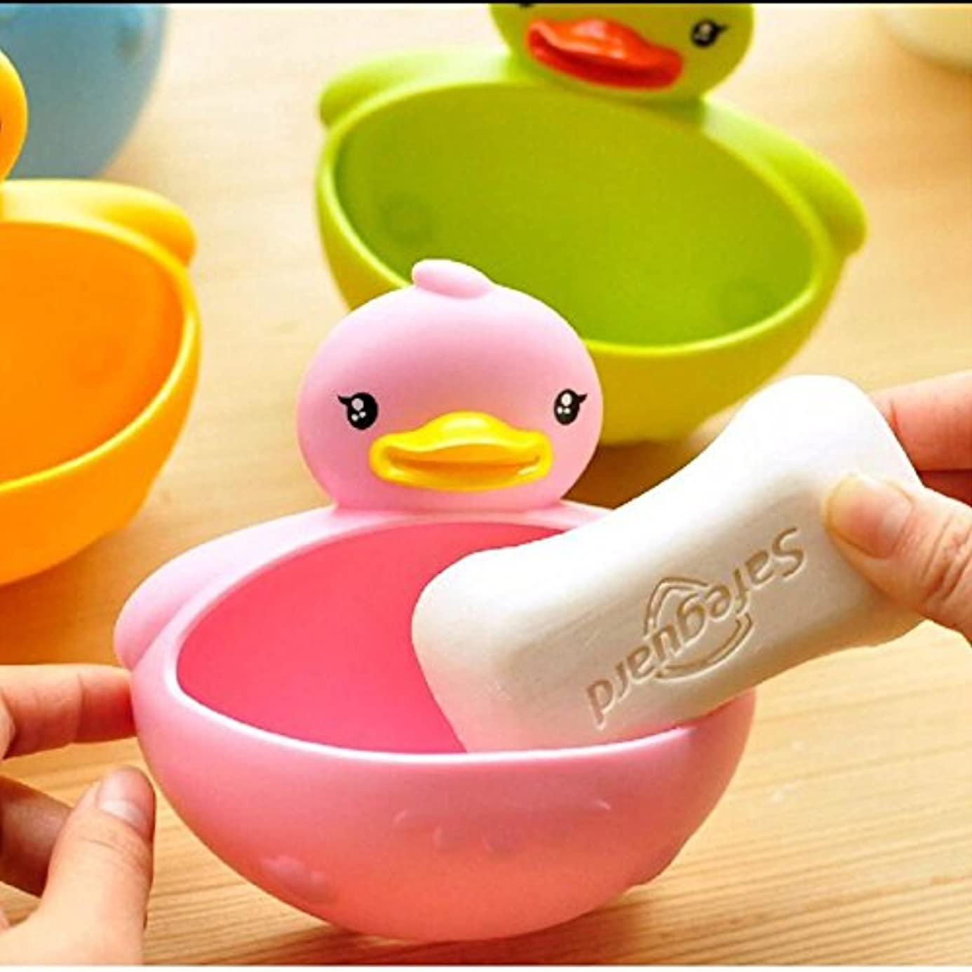 Favor Soap - Practical Cartoon Animal Duck Soap Box Dish Holder With Suction Robe - Holders Travel White Bulk Metal Shell Soap Wall Drainage Blue Showers Bathtub Holder Dishes Stone Toothbrush C
