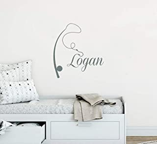 Wall Decal Vinyl Sticker Decals Home Decor Art Murals Custom Personalized Name Fishing Rod Nautical Baby Boy Nursery aa372
