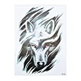 Tatuaje tribal de lobo para hombre, tatuaje falso hb846