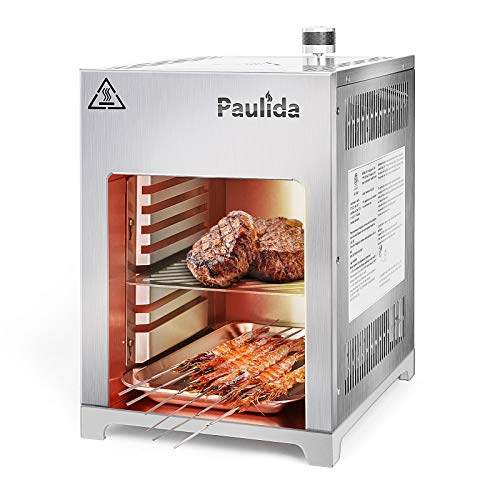 Paulida Gas Steak Grill,Hochtemperatur Gasgrill,Profi-Grillstation für BBQ,Edelstahl Beef Grill,Oberhitzegrill bis 800°C,Beef Burner gasbetrieben,Steakgriller inklusive Fettauffangschale