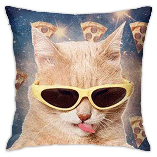 pingshang Kissenbezug Eine Katze mit Sonnenbrille Kissenbezug Mode Quadratisches Kissen für Sofa Dekor Home Schlafzimmer GIF