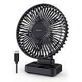 EasyAcc Ventilador de Escritorio Circulación de Aire 3 Ajustes de Velocidad USB Ventilador Portátil Silencioso Viento Fuerte,Adecuado para Oficinas,Dormitorios,Salones,Tocadores,Ajustable en 90 grados