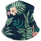 Emonye Vector Seamless Tropical Pattern with Lush Foliage, Flowers, Pink Flamingos Ski Mask Cold Weather Face Mask Neck Warmer Fleece Hood Winter Hats