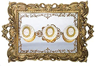 navona Gold Luxury Glass Mirror Serving European Style Tray