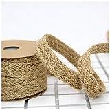 Uteruik Cinta de cuerda de arpillera trenzada de yute para envolver regalos, bodas, eventos, fiestas y decoración del hogar, 1,8 cm x 10 m