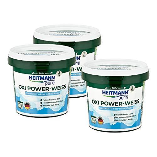HEITMANN pure Oxi Power-Weiss: Extra starker Fleckenlöser für weiße Wäsche, Fleckenentferner ohne Chlor und Tensiden - 500g, 3er Pack