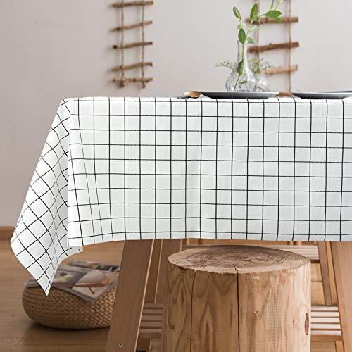 Jaoul Mantel de hule de vinilo de plástico resistente al agua, resistente al agua, a prueba de derrames, estilo clásico sencillo chic para el verano para mesa rectangular, cuadros negros, 55' 180.3 cm