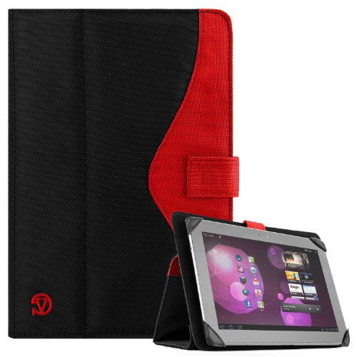 SOHO Portfolio Stand Nylon Detachable Flip Cover Case FIRE Punk RED for Asus Transformer Pad 10.1 Tablets TF300TL, TF300T, TF700T, TF101