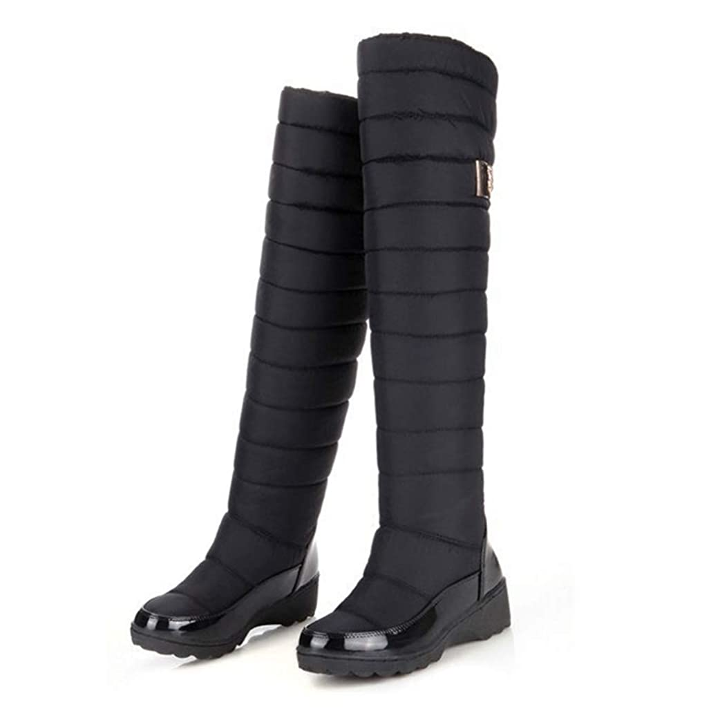 エチケットインポート間隔[WOOYOO] ロングブーツ レディース ダウンブーツ メンズ 中綿 レインブーツ 防寒 スノーシューズ ニーハイ 防寒 暖か 冬 ボア 厚底靴 アウトドア 婦人靴 防水 冷え性 長靴 大きいサイズ ブラック