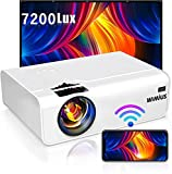 WiMiUS プロジェクター 7200lm 小型 WiFi ホームプロジェクター 1920×1080P最大解像度 HIFIスピーカー ズーム機能 USB/HDMI/AV/VGA対応 スマホ/パソコン/タブレット/ゲーム機/DVDなど接続可能