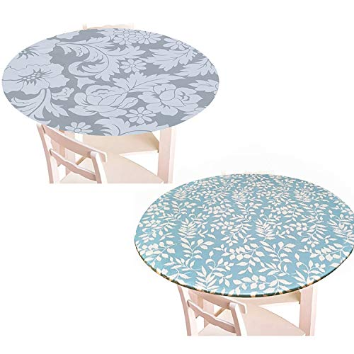WWmily - Juego de 2 manteles redondos de franela elastica para mesa de comedor y mesa de comedor con bordes impermeables