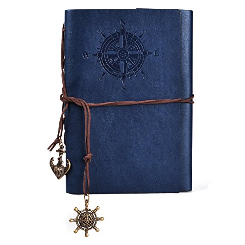 Voguecase Retro Taccuino, Vintage Retro Leather Cover Journal Jotter Diary Notebook (Blu Scuro)