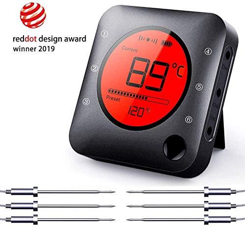 BFOUR Bluetooth Grillthermometer Bratenthermometer mit 6 Temperaturfühlern Zeitmesser Digitale Grille Thermometer LED Display Sofortiges Auslesen Fleischthermometer(Mit 6 Sonden)