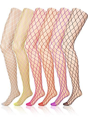 6 Paia Calze a Rete Collant a rete a vita alta da donna per Ragazze Signore (Multicolore, XL Foro)