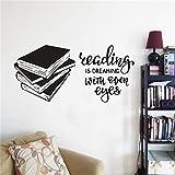Biblioteca Escolar vinilo pegatina de pared libros de lectura póster para pared de vinilo decoración creativa para tienda de libros calcomanías de pared de estudio