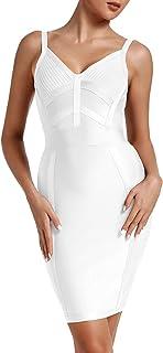 UONBOX Women's Strap Bandage Dress V-Neck Mini Bodycon Party Clubwear Dress