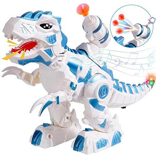 HERSITY Dinosaurios Electronico Robot Luz y Sonido Juego de Disparos Educativo Juguete Regalos para Niños Niñas