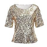SMENGG Tops Giacca Abbigliamento T-Shirt delle Camicette della Cima del Cocktail di Scintillio delle Paillettes delle Donne di Modo(Oro, Large)