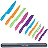 Knife Set with Magnetic Bar, Colorful 10-Piece Stainless Steel Kitchen Tools, Magnet Bar for Storage and Organization - Chef Knives by Classic Cuisine
