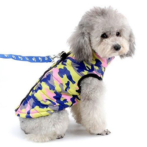 SELMAI Jacke/Mantel für Kleine Hunde Wasserdicht Hundmantel mit D-Ring Geschirr Fleecejacke Camouflage für Hunde Katze Kostüm Warme Haustierkleidung für den Winter Rosae Camouflage XS