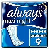 Always Maxi Profresh Night Compresas sin alas (9 unidades) súper absorbentes con SecureGuard, neutraliza los olores, ComfortFit y tecnología InstantDry.