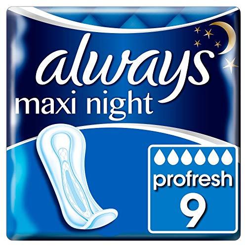 Always Maxi Profresh Compresas Maxi Night (9 compresas), neutraliza los olores, ajuste perfecto y absorbente, empaquetado individual