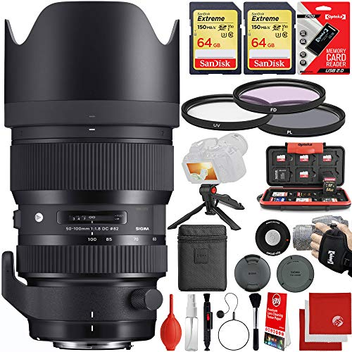 Sigma 50-100mm f/1.8 HSM DC Art Lens Canon EF-Mount Bundle with 2X 64GB Memory Cards, IR Remote, 3 Piece Filter Kit, Wrist Strap, Card Reader, Memory Card Case, Tabletop Tripod