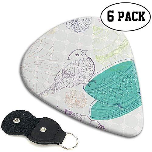 Gitaar Picks 6 stks,Bloemenelementen En Een Leuke Vogel In Bleke Gekleurde Engels Traditie Natuur Afbeelding