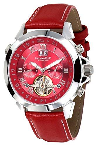 Calvaneo 1583 Herren-Armbanduhr Astonia Platin Deep Red Analog Automatik Leder rot 107929
