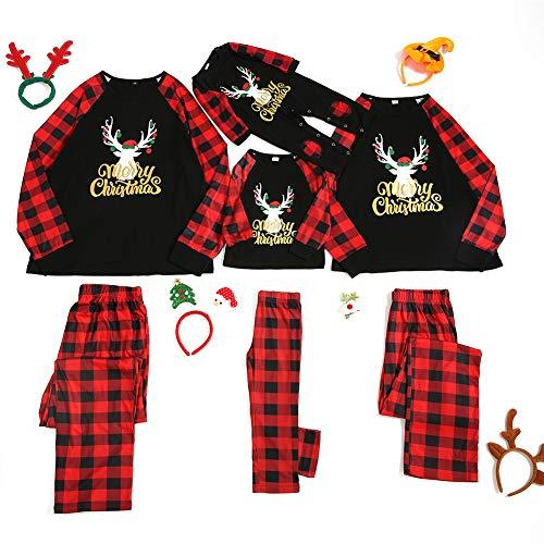 HEWYHAT Passende Familienpyjamas setzen Weihnachten mit Buchstaben und Plaid bedruckten Langarm-T-Shirt und Hosen Loungewear Frauen Männer Kinder,Kids,XL