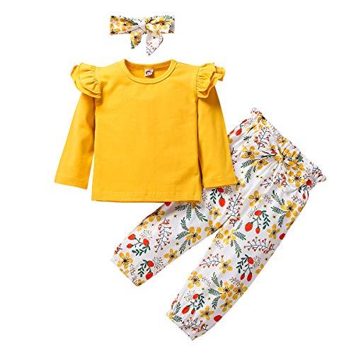 FYMNSI Neugeborenes Baby Mädchen Outfits Blumenmuster Druck Baumwolle Langarm Top Kleid Shirt Langes Hose Stirnband 3tlg Bekleidungsset Freizeit Herbst Kleidung Gelb 2-3 Jahre
