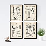 Nacnic Prints Vintage Patents Arms - Set of 4-250g Paper - Beautiful Poster Painting for Home Office Living Room