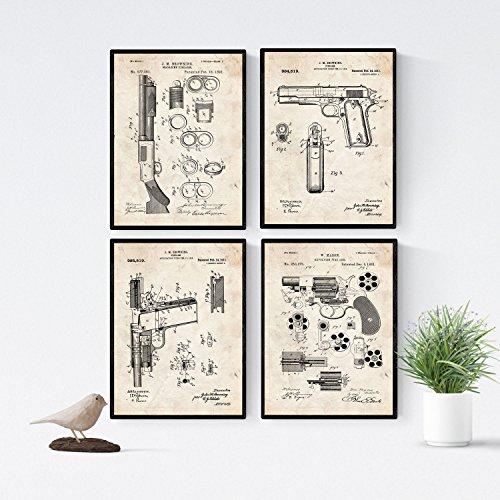 Nacnic Vintage Waffen Patent Poster 4-er Set. Vintage Stil Wanddekoration Abbildung von Gewehr und Pistolen. Verschiedene geometrische Alte Erfindungen Bilder ohne Rahmen. Größe A4.